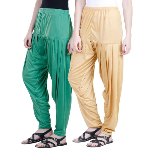 Colorfly Women's Viscose Green And Yellow Color Patiala Pack of 2