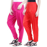 Colorfly Women's Viscose Pink And Red Color Patiala Pack of 2
