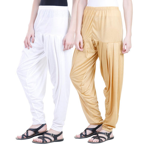 Colorfly Women's Viscose White And Yellow Color Patiala Pack of 2