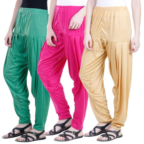 Colorfly Women's Viscose Multicolor Patiala Pack of 3