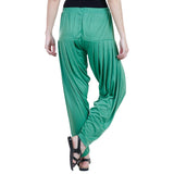 Colorfly Women's Green Viscose Patiala