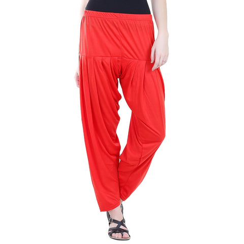 Colorfly Women's Red Viscose Patiala