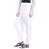 Colorfly Women's White Viscose Patiala