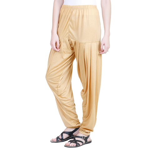 Colorfly Women's Yellow Viscose Patiala