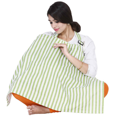 Lula Mom Green Stripes Feeding/Nursing Cover