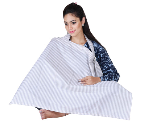 Lula Mom white grey striped Nursing cover