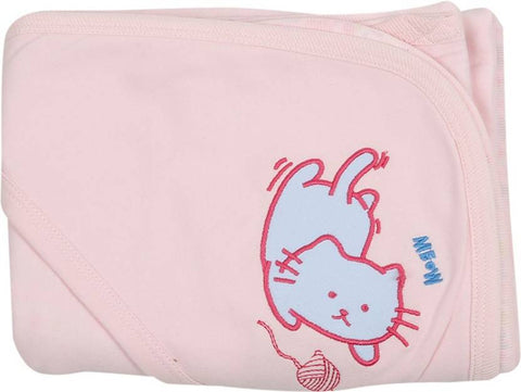 Lula Embroidered Double Hooded Baby Blanket Pink Floral