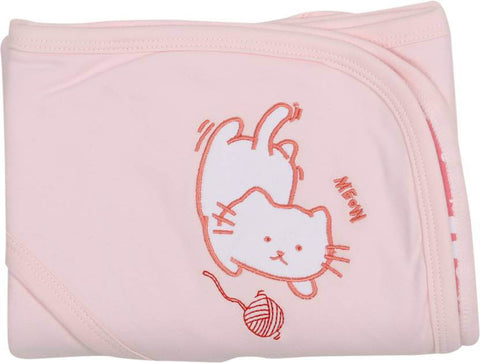 Lula Embroidered Crib Hooded Baby Blanket Pink