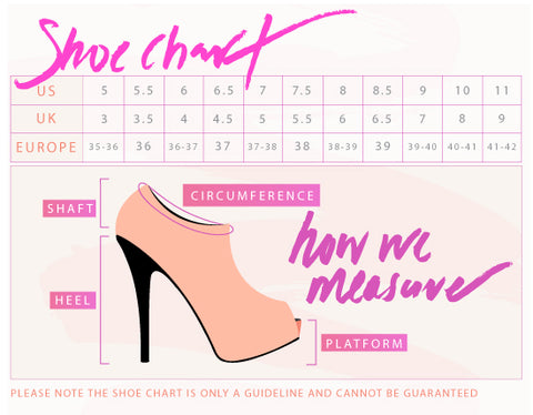 Loyally Elegant shoe sizing