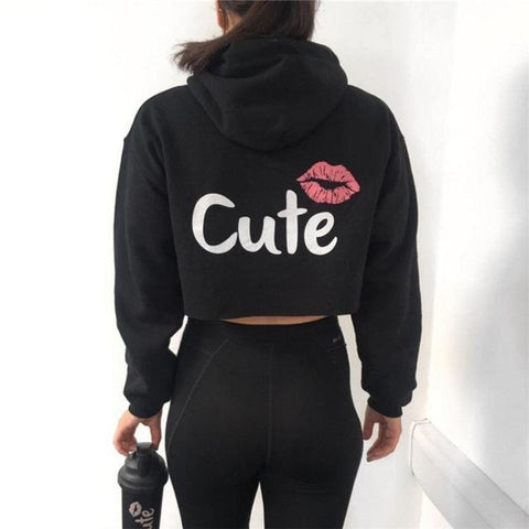 Loyally Elegant hoodie Black / L Too Cute Crop Top Hoodie