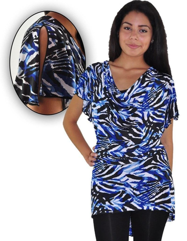 Drape Blue Animal Print Top