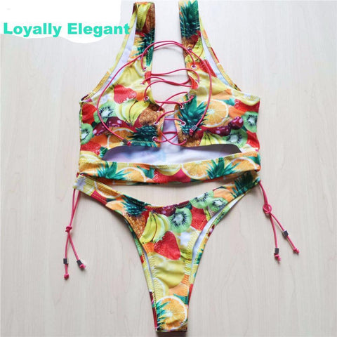 Loyally Elegant swimsuit Fruits / L Graffiti Thong Bikini Swimsuit