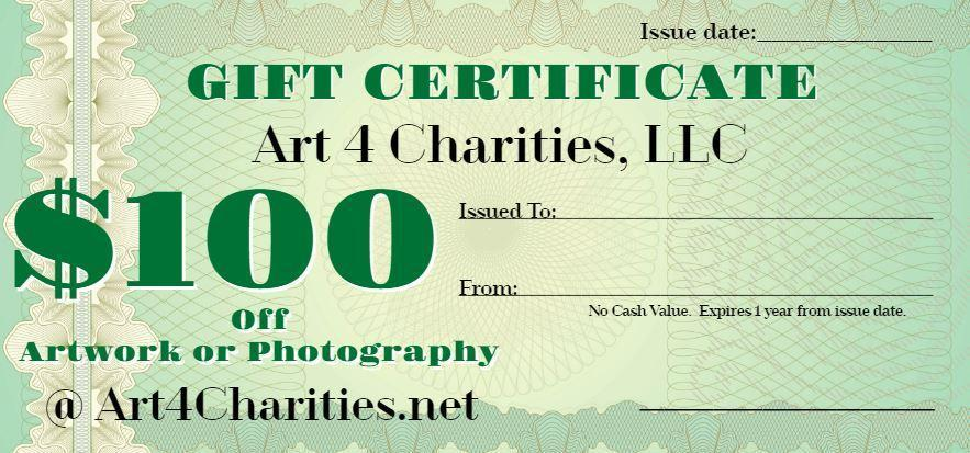 $100 Gift Certificate - Art 4 Charities, LLC