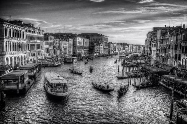 Boats On The Canal, B/W, Venice, Italy