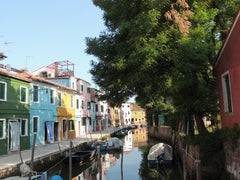 Colorful Houses Along Canal, Venice, Italy