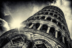 Leaning Tower of Piza, B/W, Italy