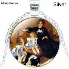 Mendittorosa For Men Women New Arrival Glass Necklace Statement Women Long Chain Round Pendant Necklace Renoir
