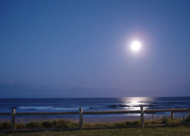 Moon Rising Over Ocean
