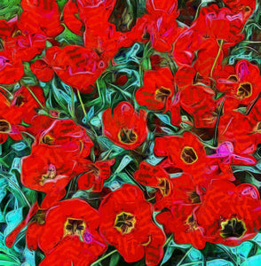 Red Flowers In Holland - Art Inspired by Vincent van Gogh - Art 4 Charities, LLC
