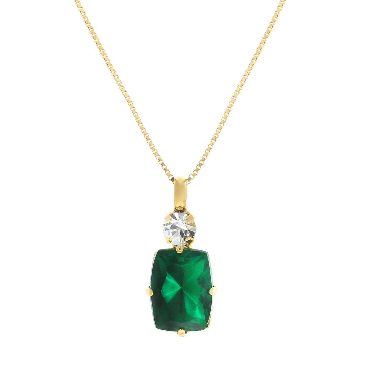Valentina Square Cut Emerald Necklace.