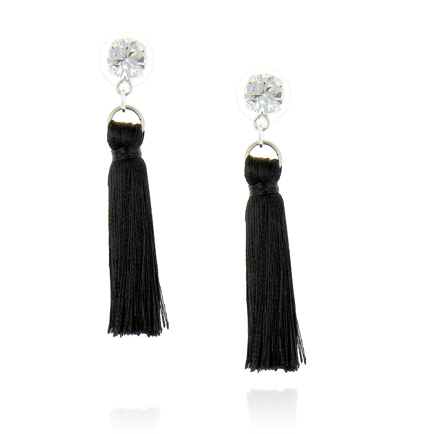 Classic Jet Tasseled Earrings