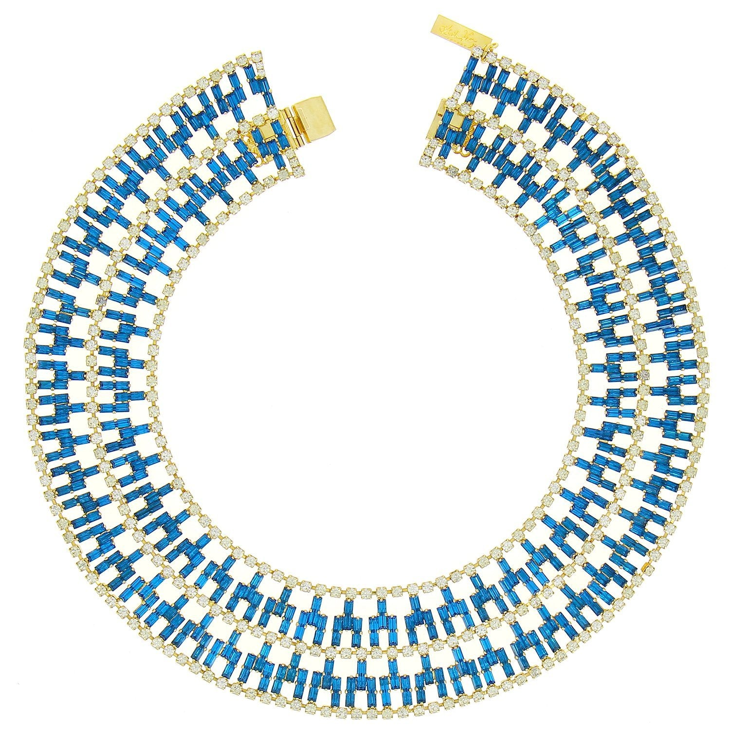 Nefertiti Peacock Blue Necklace