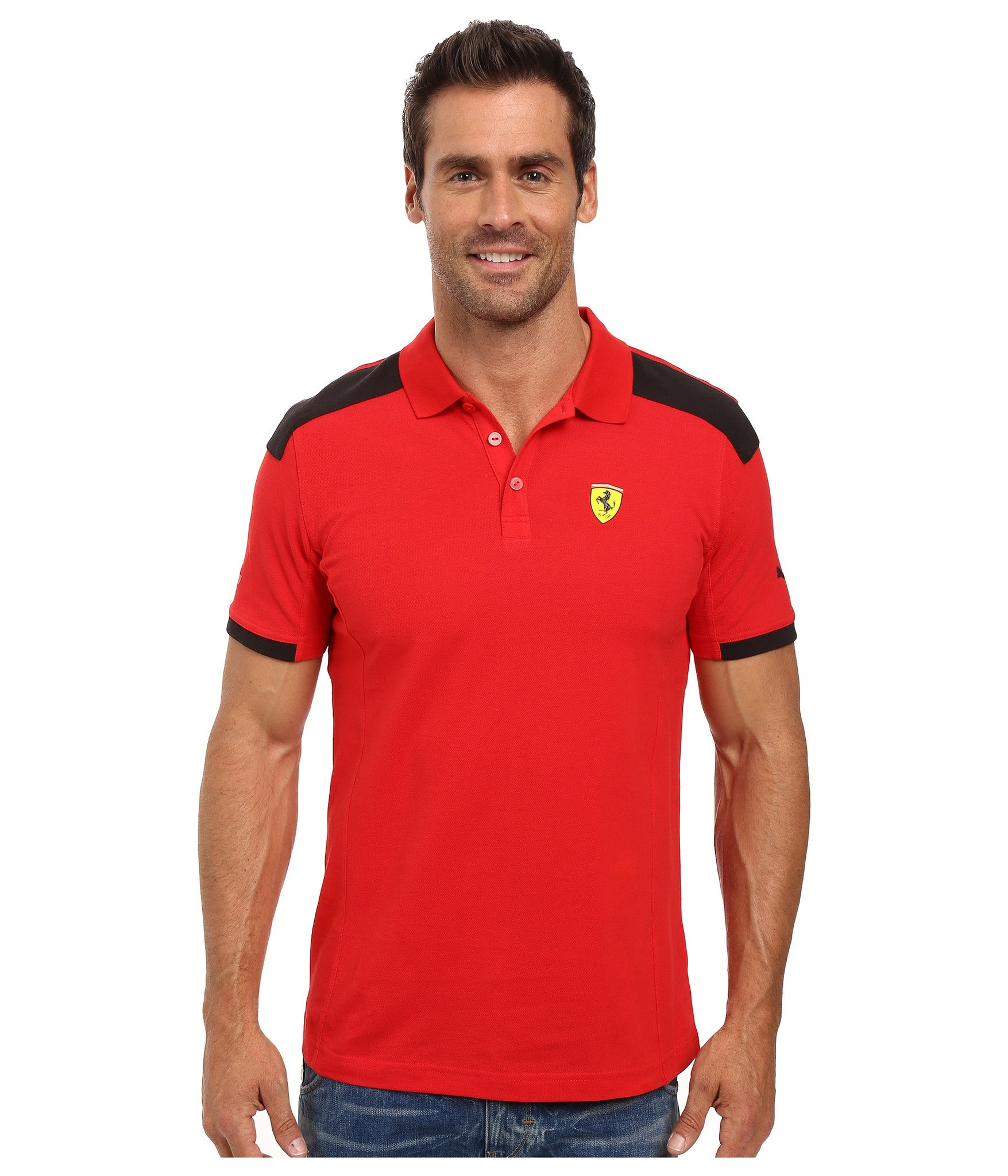 21b0ab3c Puma Mens Ferrari Polo Shirt Red Two Tone Rosso Corsa - Top brand shoes