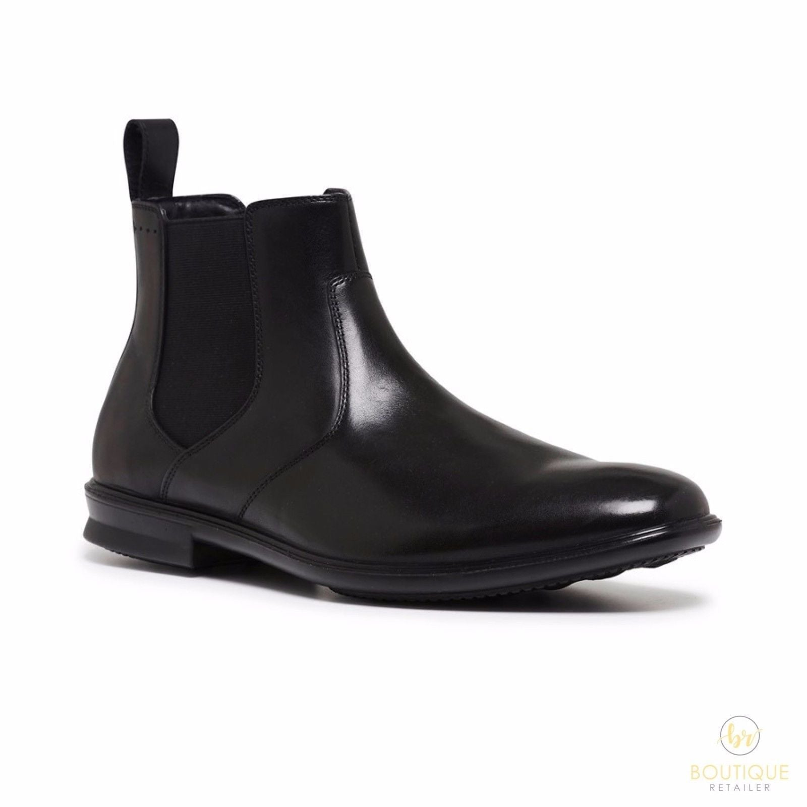 HUSH PUPPIES Mens Carter Leather Boots Shoes Slip On Extra Wide Waterproof Chelsea