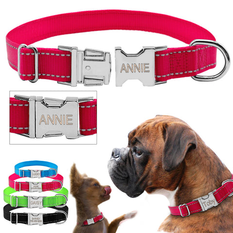 Personalized Reflective Nylon Dog Collar