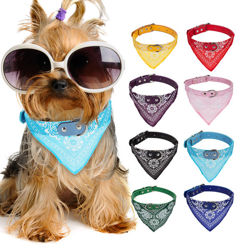 Lovely Adjustable Pet Flower Printed Bandanna Scarf/Collar