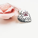 Pink White Silver Crystal Dogs Paws Claw Print & Heart Necklace