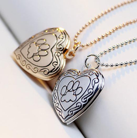 Dog Paw Locket Necklaces Gold-color Heart Pendants