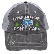 Turquoise Camping Hair Don't Care Women Embroidered Trucker Style Cap Hat
