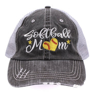 Softball #Momlife Mom Love Heart Women Embroidered Trucker Style Cap Hat