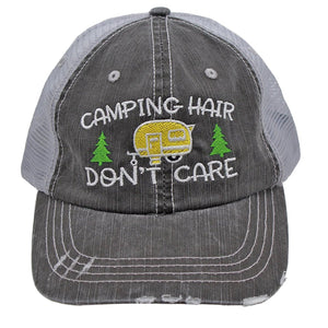 Camping Hair Don't Care Women Embroidered Trucker Style Cap Hat *** MAIN ***
