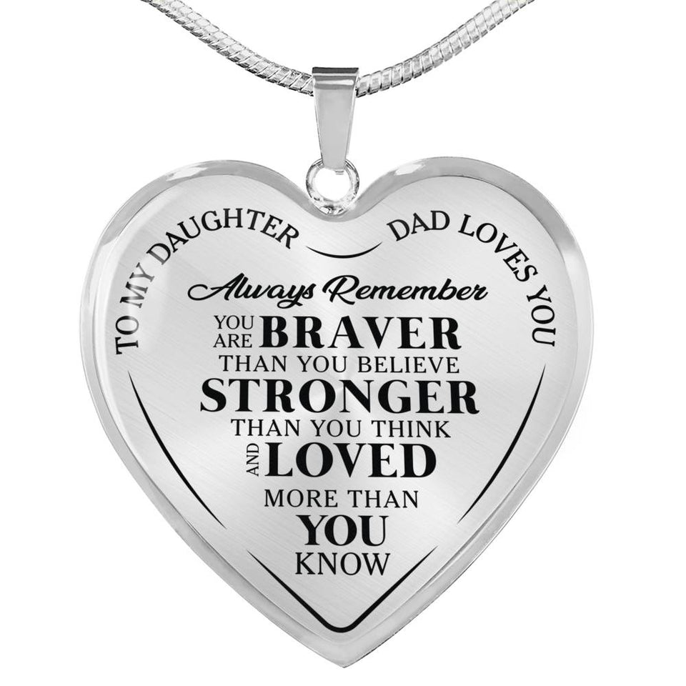 Father Daughter Brave Heart Necklace