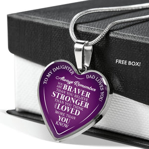 Father Daughter Brave Purple Necklace