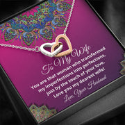 To My Wife Interlocking Hearts Necklace