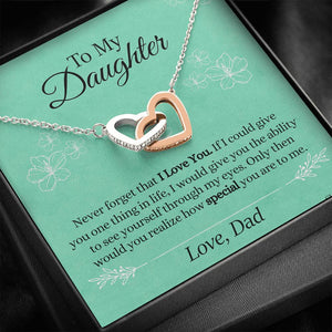 """To My Daughter, Love Dad"" Interlocking Hearts Necklace"