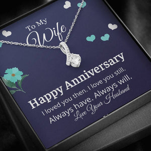 Happy Anniversary Ribbon Design Necklace