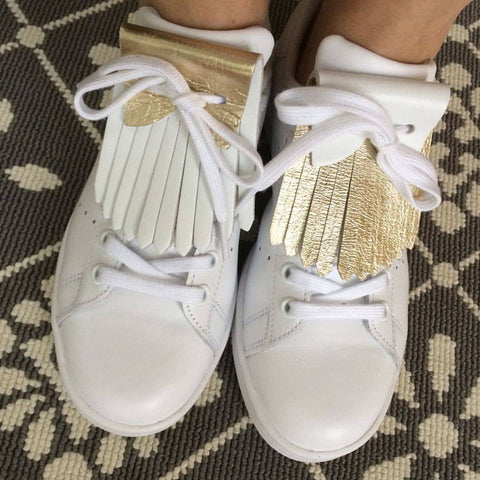 White and Gold Leather Reversible Franginettes