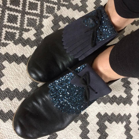 Navy and Glitter Leather Reversible Franginettes
