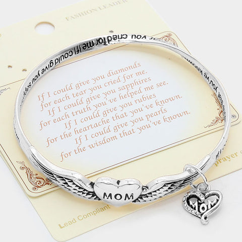 Mom Heart Charm Metal Message Bracelet