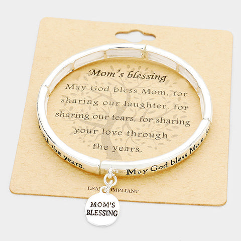 Mom's Blessing Metal Disc Charm Bracelet