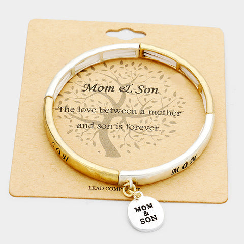 Mom & Son Metal Disc Charm Bracelet