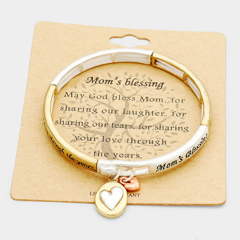 Mom's Blessing Metal Heart Charm Bracelet