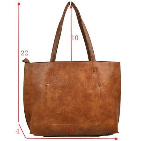 3 in 1 Vegan Tote Bag: Brown/Brown