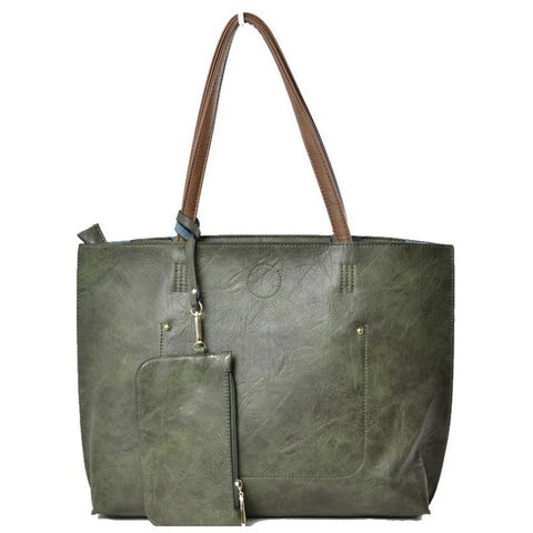3 in 1 Vegan Tote Bag: Dark Green/Brown