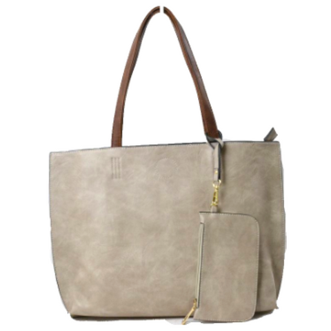 3 in 1 Vegan Tote Bag: Gray/Brown