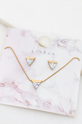 Triangle Howlite Earring and Necklace Set